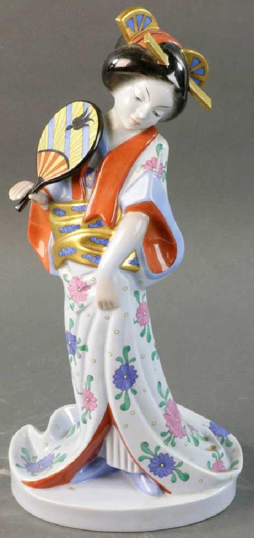Herend Figure of Geisha With Open Fan