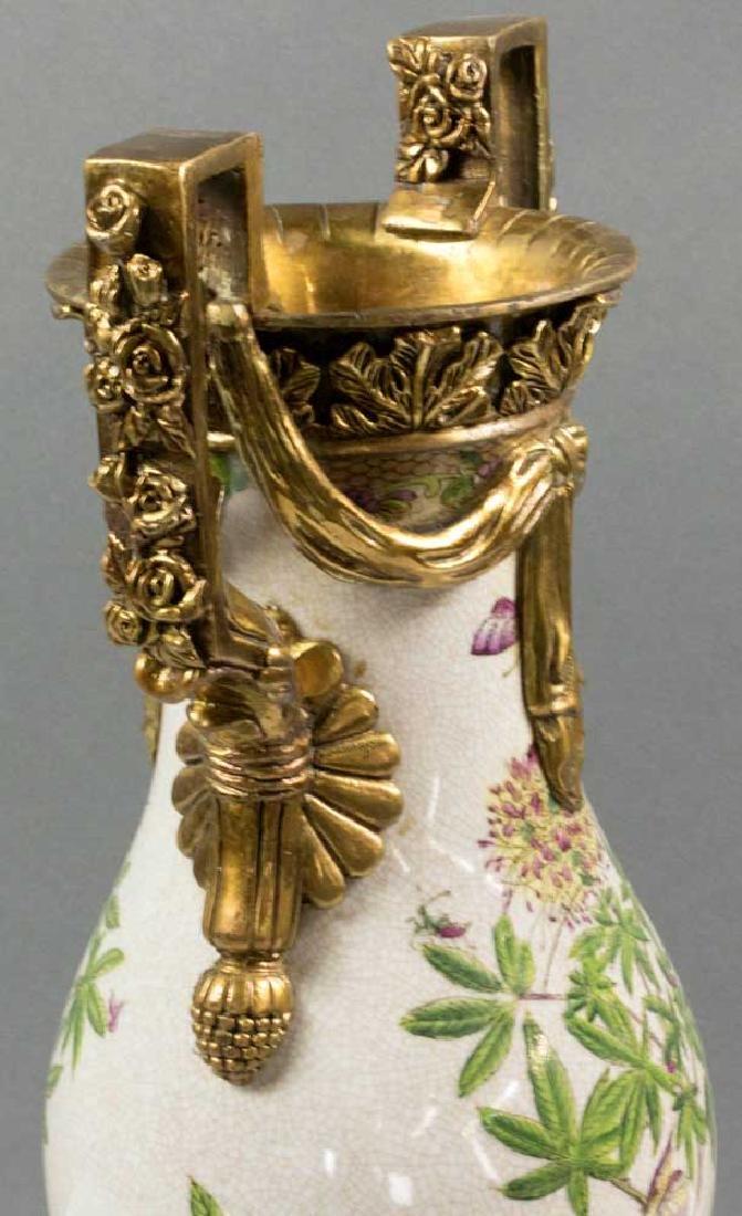 Ornate Bronze Mounted Porcelain Vase - 5