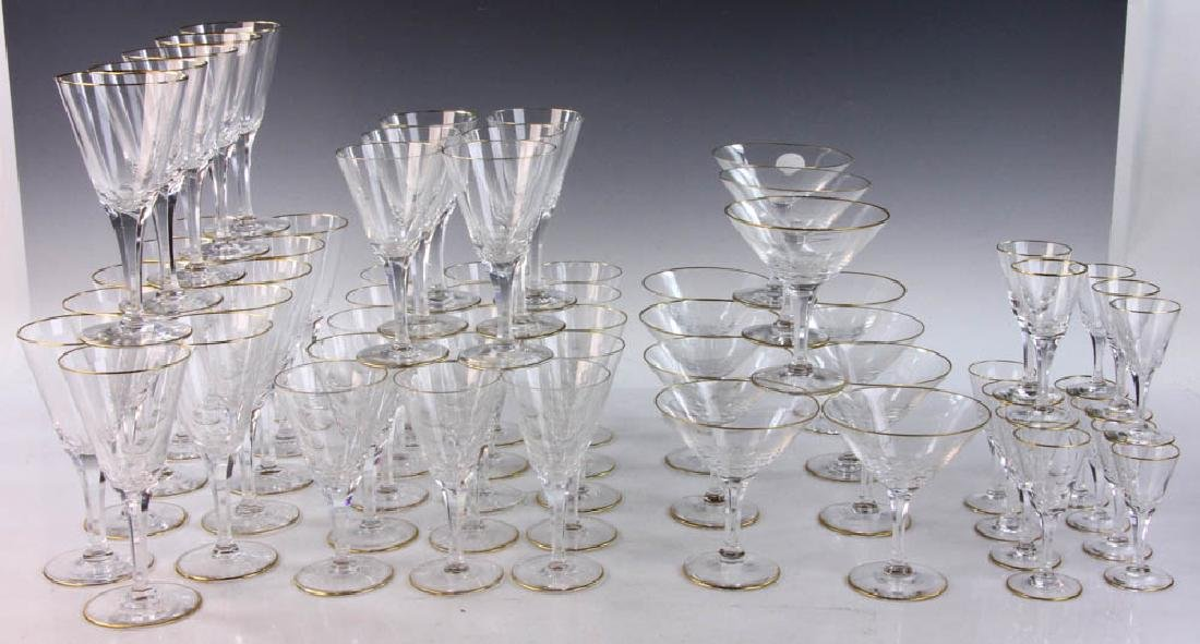 Set of Glass Stemware with Panel Cut Stems
