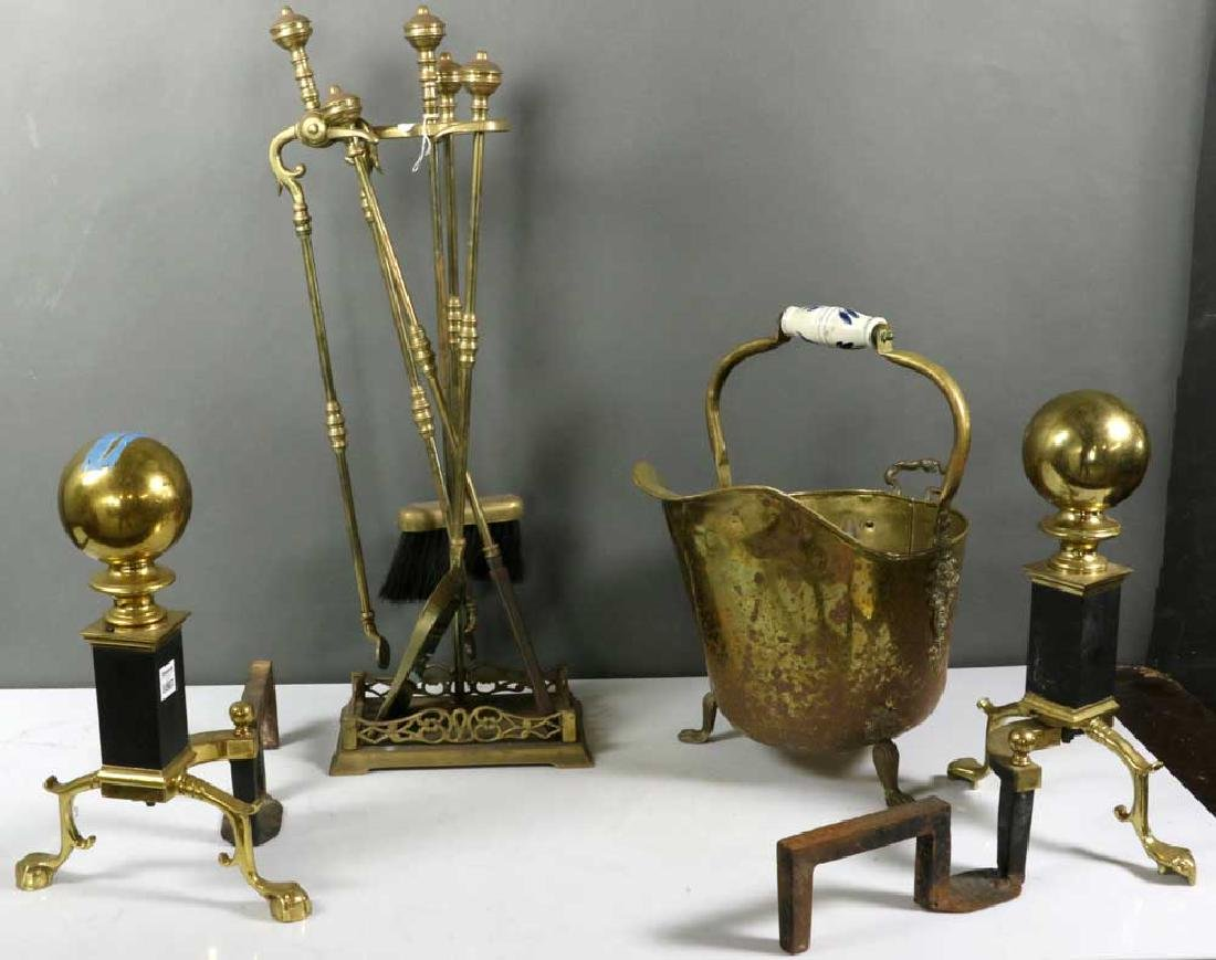 Group of Brass Fireplace Items