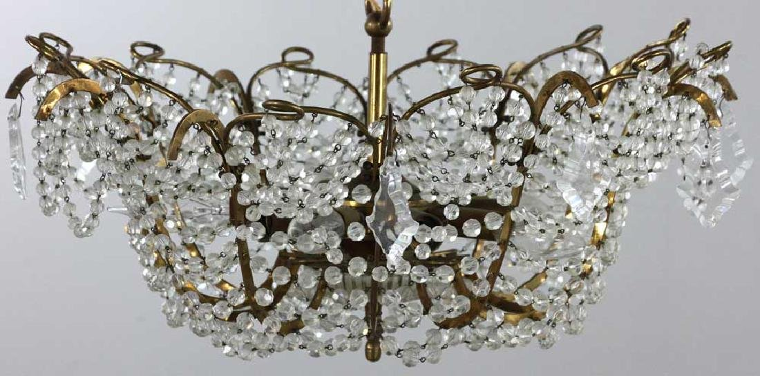 Brass and Crystal Chandelier