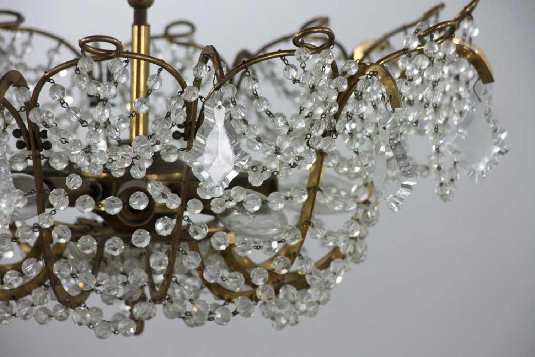 Brass and Crystal Chandelier - 2