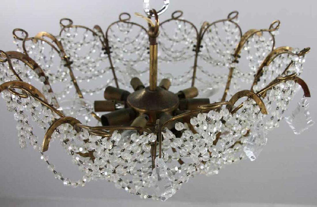 Brass and Crystal Chandelier - 5