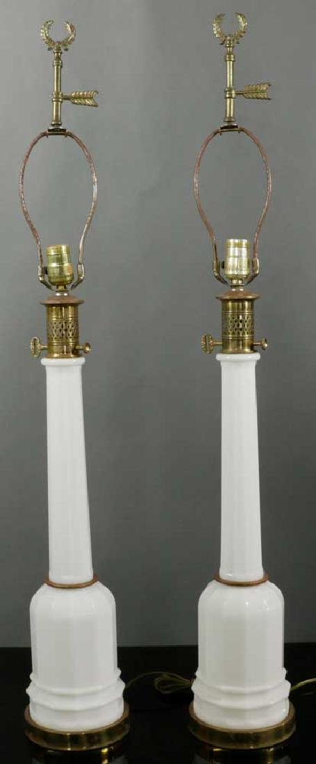 Pair of Tall Milk Glass Lamps