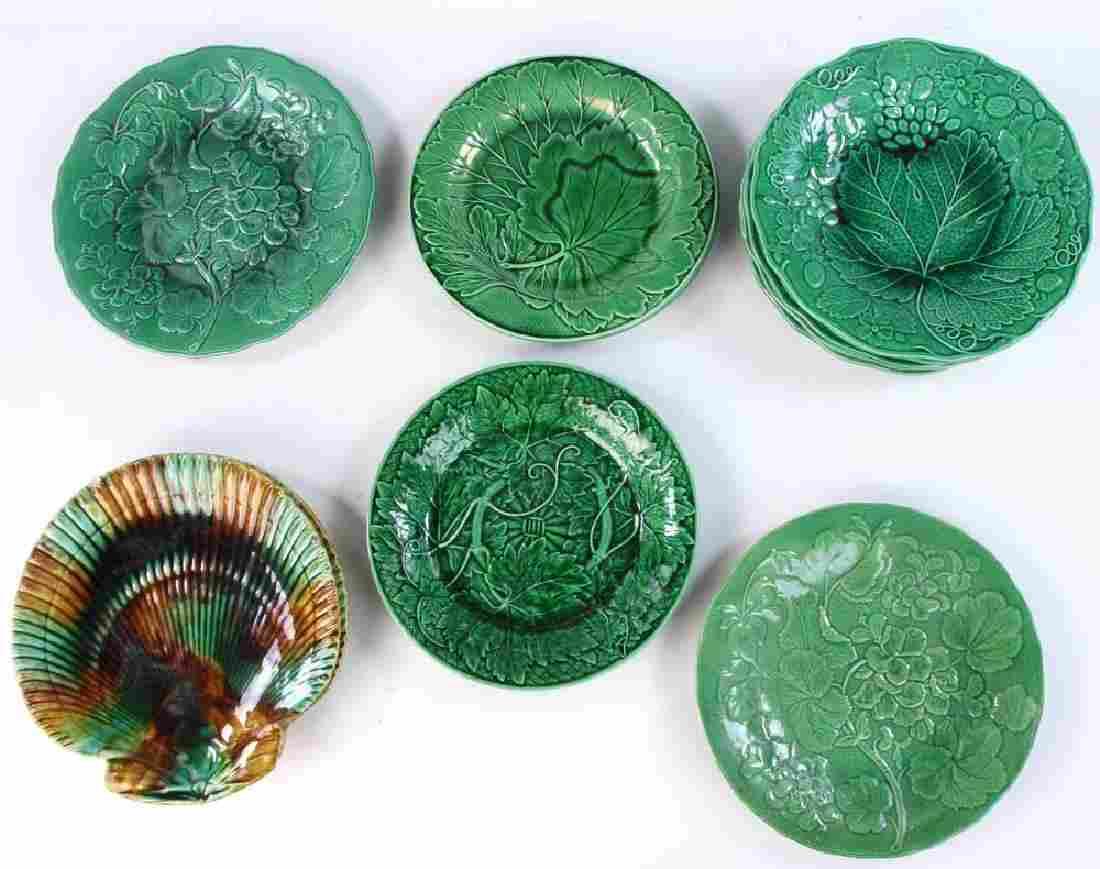 Collection of 19th C. English Majolica Plates