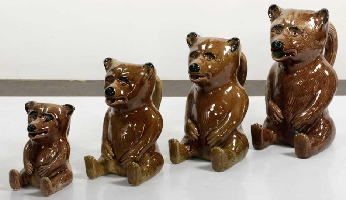 Graduated Set of Figural Bear Pitchers