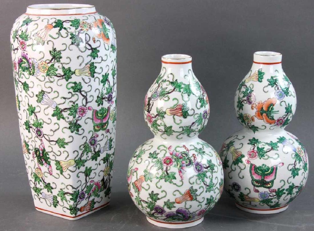 Set of Three Chinese Porcelain Vases