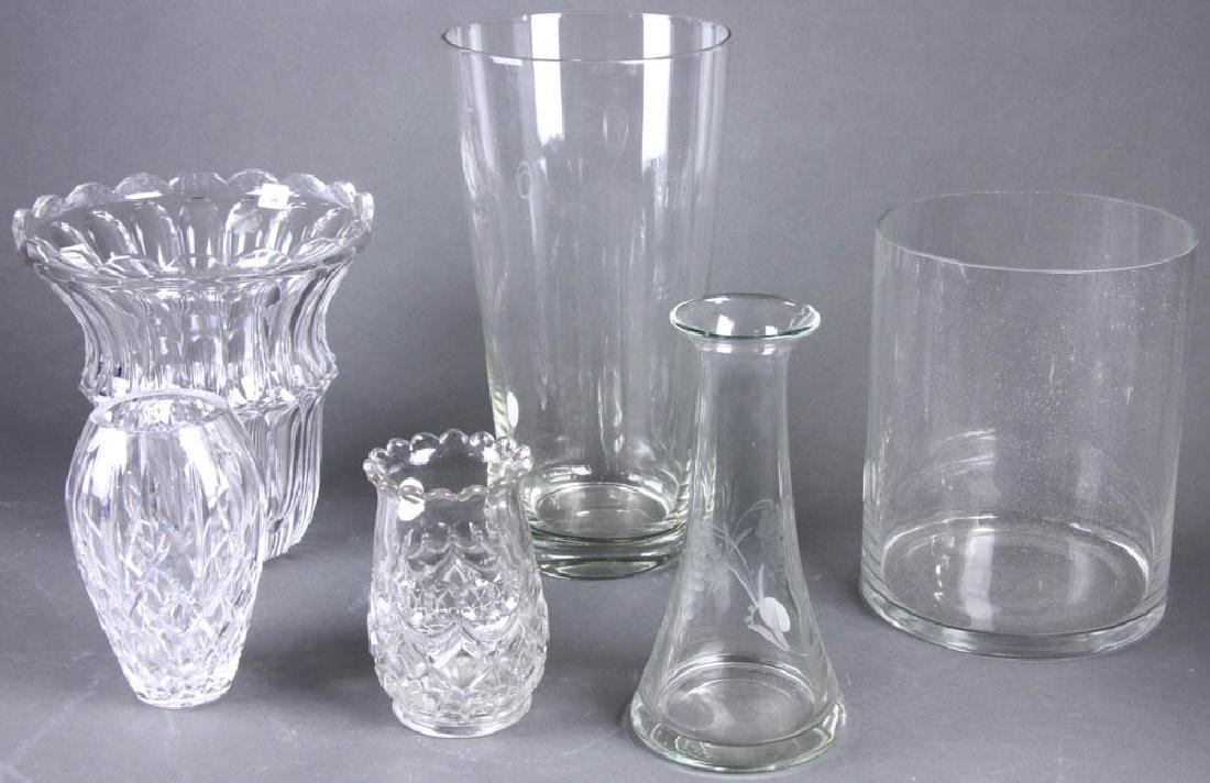 Grouping of Six Colorless Glass Vases