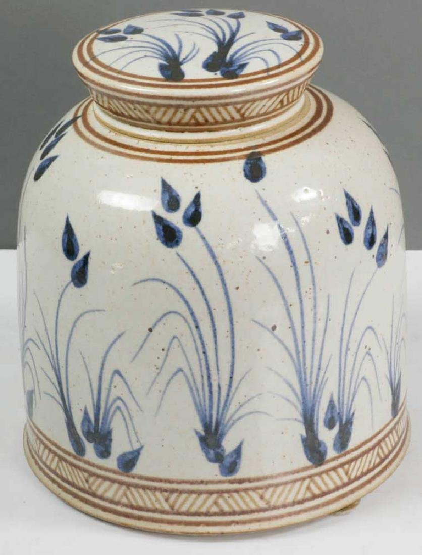 Decorated Stoneware Covered Jar