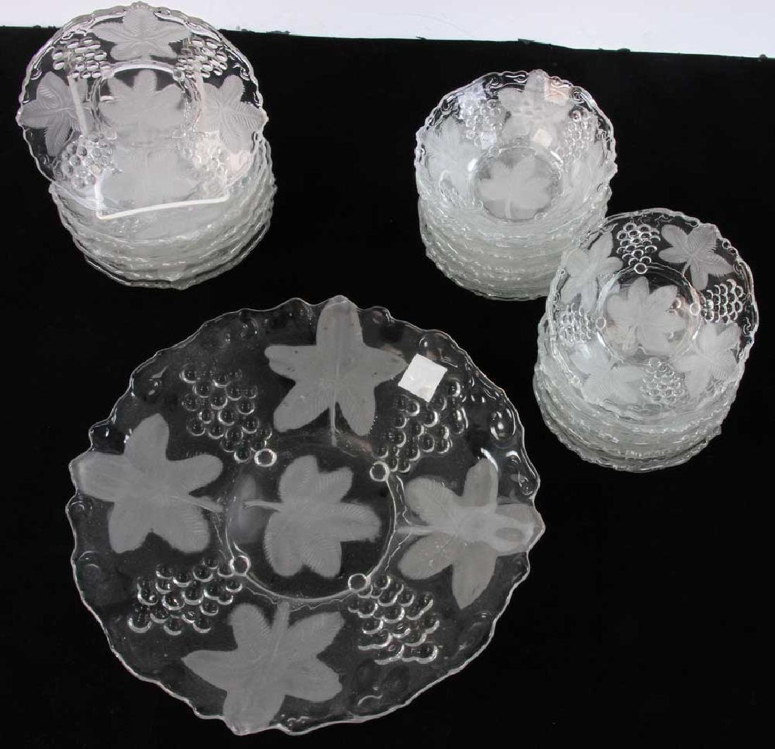 Glass Dessert Service with Grape Motif