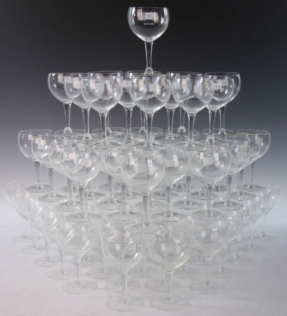 Large Set of The '21' Club Wine Glasses