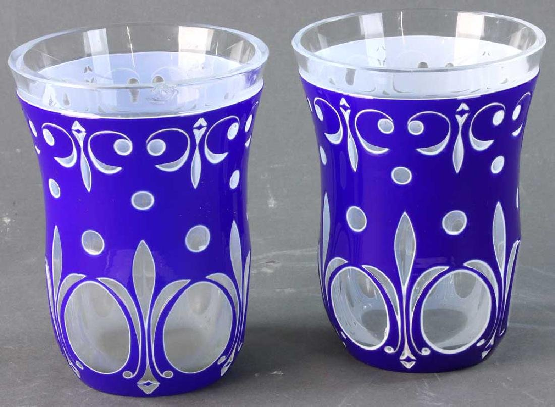 Pair of Double Overlay Cut Glass Vases