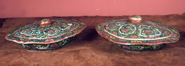 3: Two 19/20th C. Rose Medallion Covered Bowls