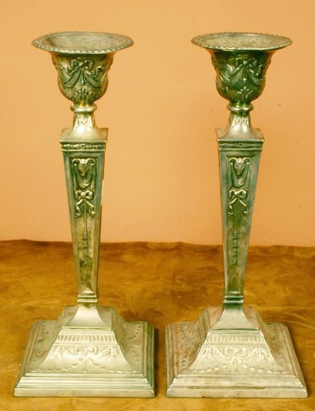 6: Pair of Early 20th C. Silverplated Candlesticks