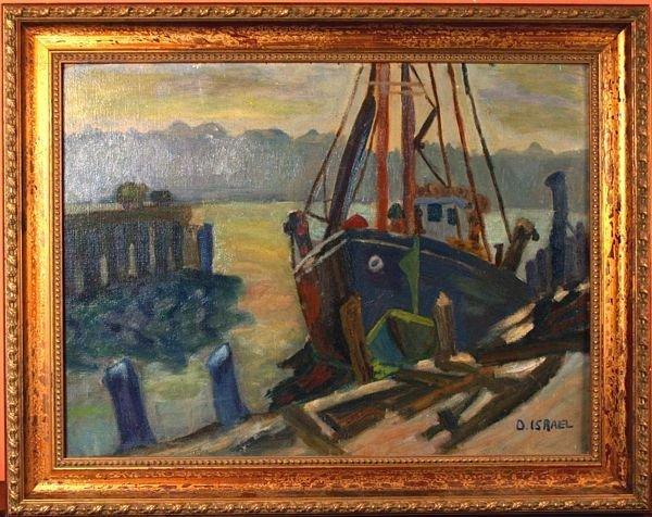 8: Signed D. Israel, 20th C., Boat at Dock, O/B