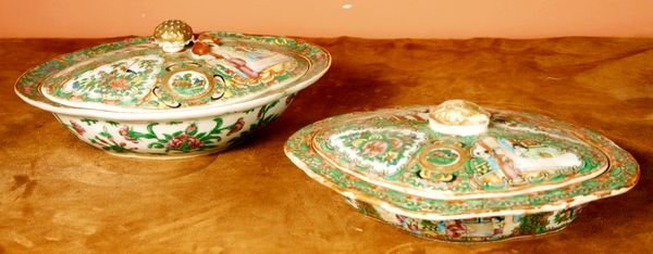 14: Two 19/20th C. Rose Medallion Covered Dishes