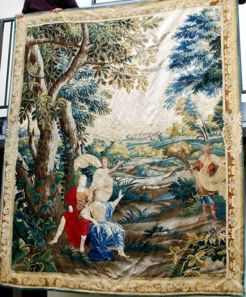 15A: 18th C.  Fine Belgian Tapestry, Wool and Silk