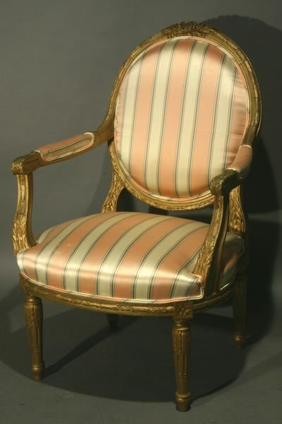 16: 19th/20th C. French Armchair w/ Silk Upholstery