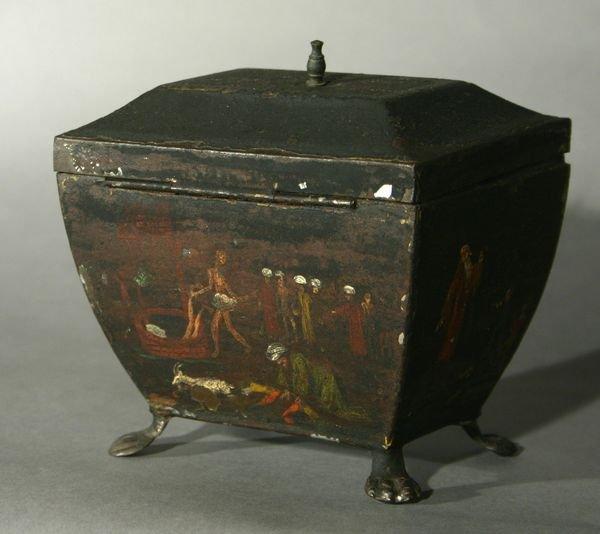 18: 18th C. English Tole Tea Caddy, Noah's Ark