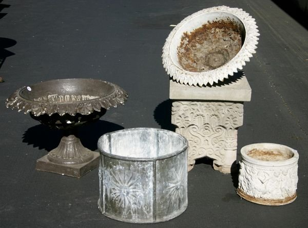 22: (5) 19/20th C. Items, Stone & Iron Planters, Table