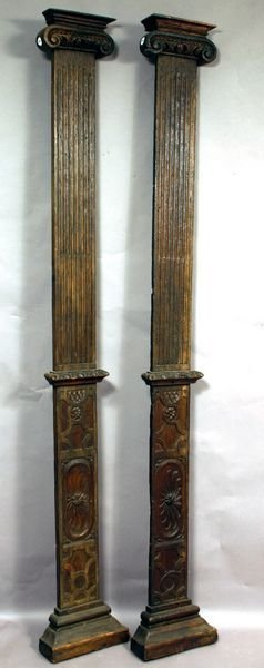 235: Pair of 19th C. French Carved Oak Fluted Pilasters