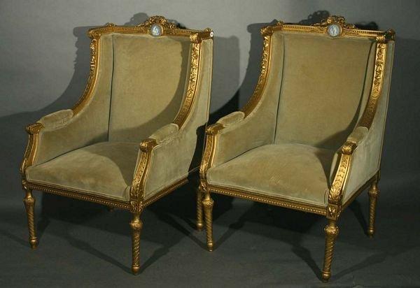 392: Pair of 19th C. French Armchairs w/ Jasperware