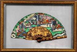 399: 19thC Chinese Export Lacquered Handpainted Fan