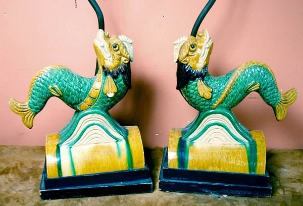 1009: Pair 19th C. Chinese Glazed Pottery Tile Lamps