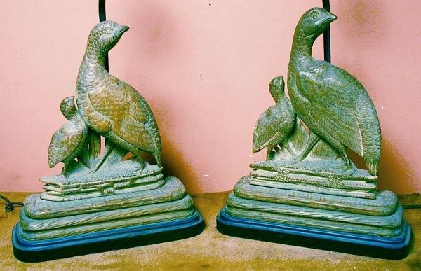 1011: Pair 20th C. Wood Carved Pheasant Lamps
