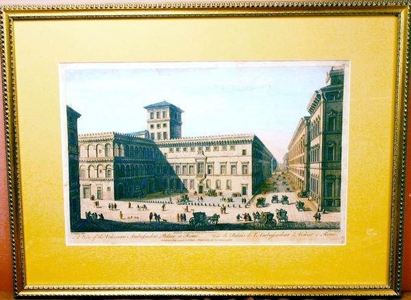 1013: Two 18th C. Hand-Colored Prints, Italian Scenes