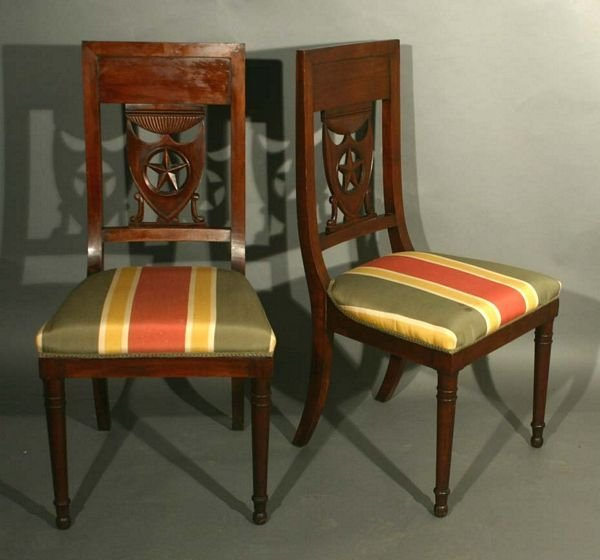 1015: Set of (8) 19th C. Fruitwood Directoire Chairs