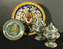 1020 Collection of Four 4 19th20th C Majolica Piec