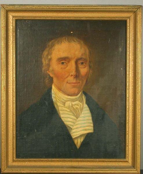 1021: 19th C. American School, Portrait of Man, O/C