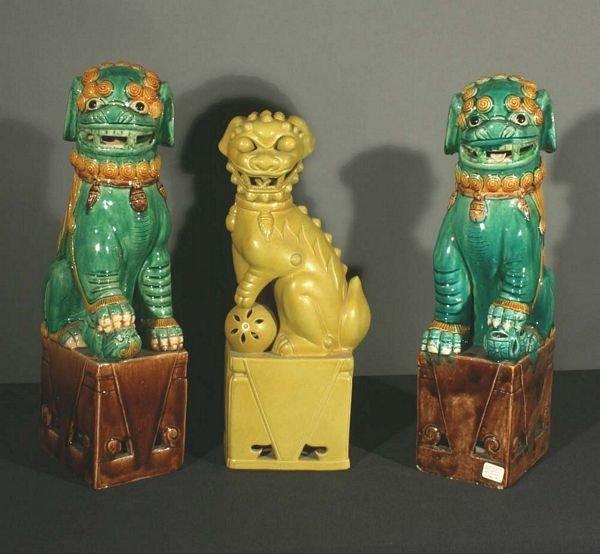 1022: Three 20th C. Chinese Ceramic Foo Dogs