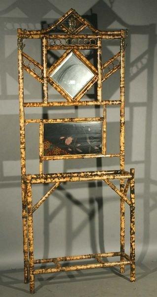 1023: 20th C. Bamboo Halltree w/ Beveled Glass Mirror