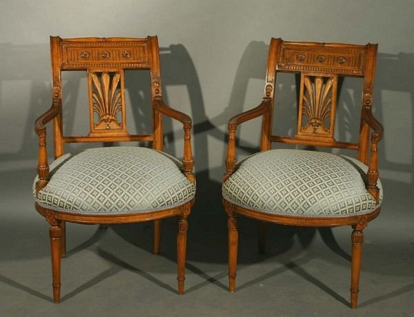 1025: Pair of 20th C. Italian Walnut Carved Chairs