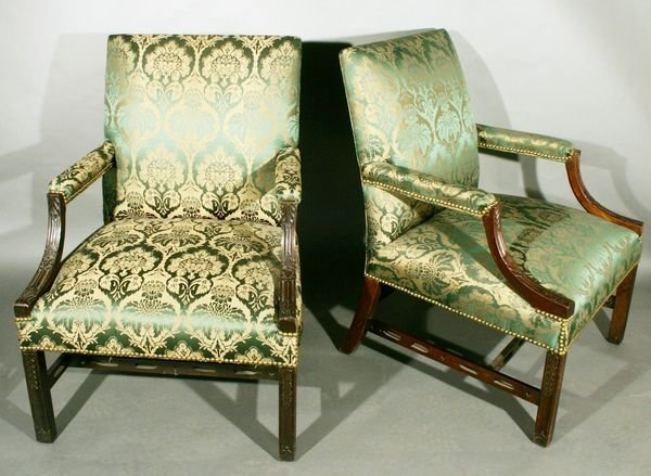 1068: Pair of 19th C. English Chippendale Chairs