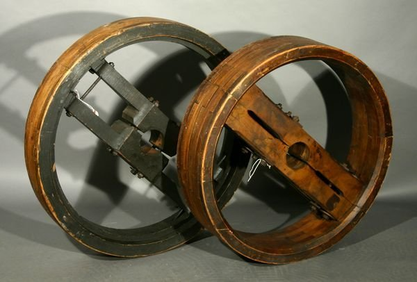 1400: (2)19th C. Wooden Pulley Wheels, Textile Factory