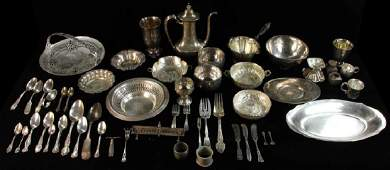 Large Group of Silver Hollowware Flatware