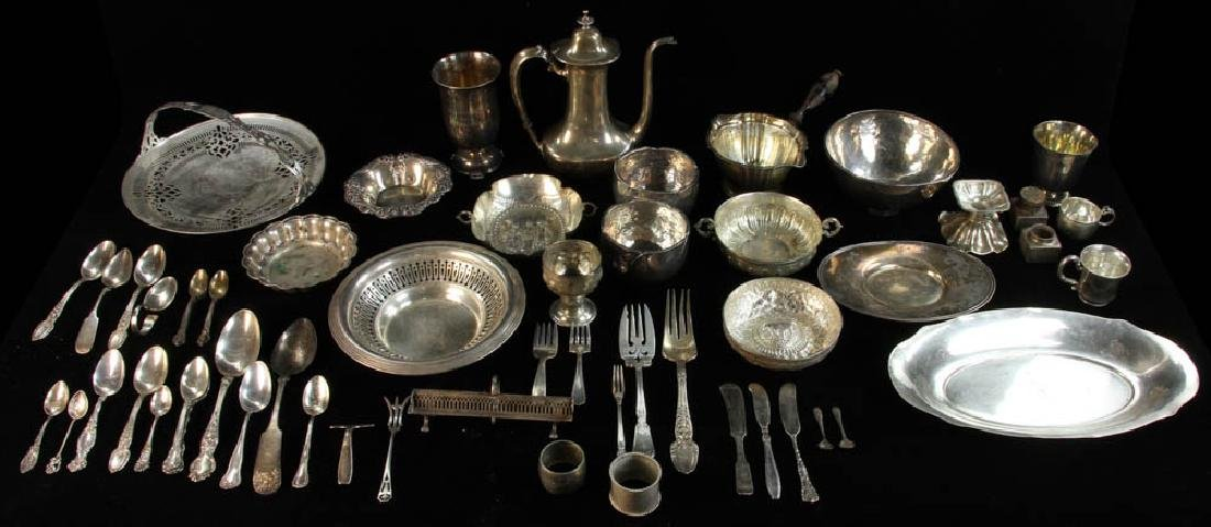 Large Group of Silver Hollowware, Flatware