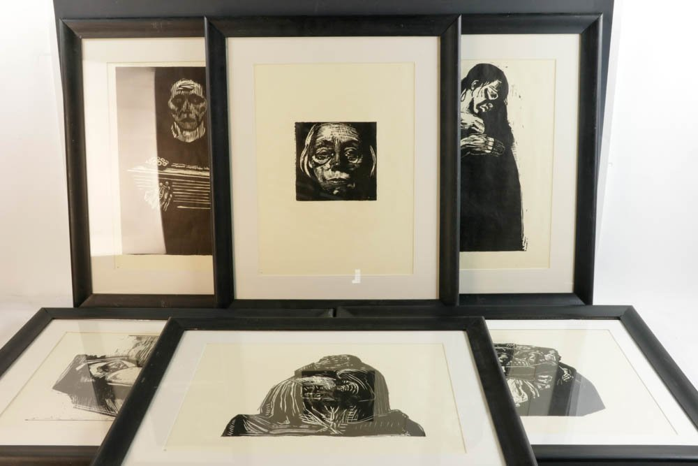 Six Kathe Kollwitz Original Woodcut Prints