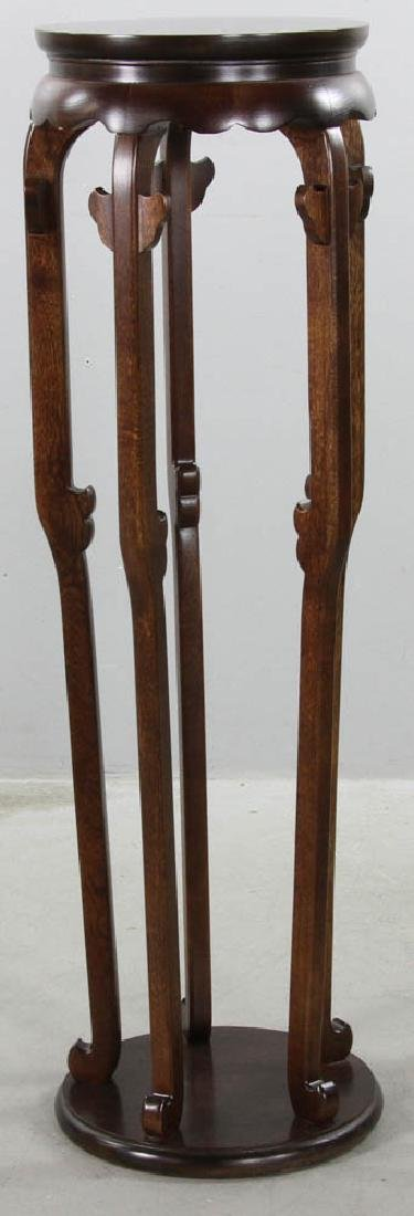 Chinese Style Burlwood Tall Stand