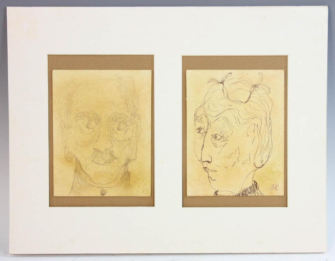 Oskar Kokoschka, Two Portraits, Pencil Drawing