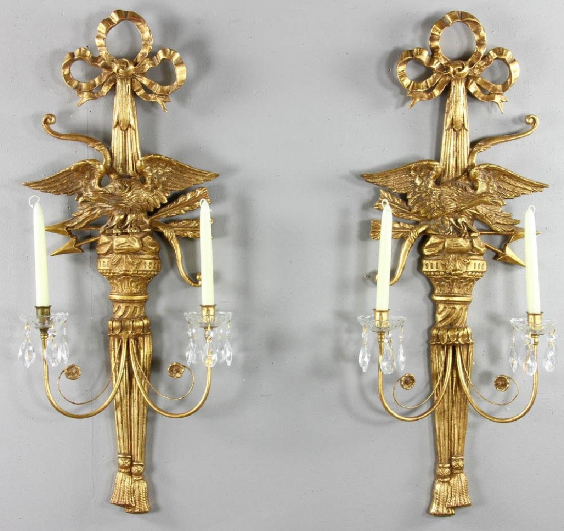 Pair of Federal Style Gold Eagle Sconces