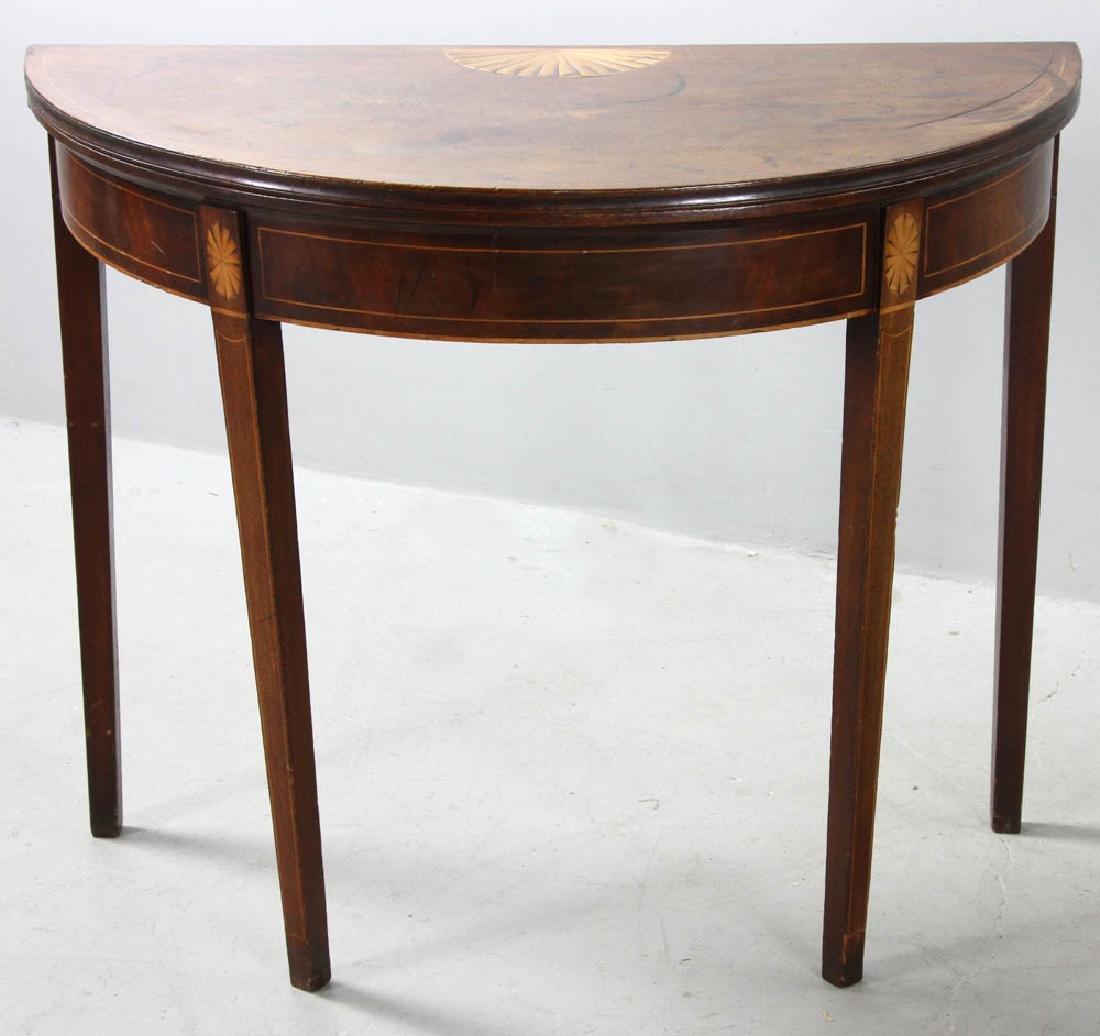 18thC American Federal Demilune Game Table