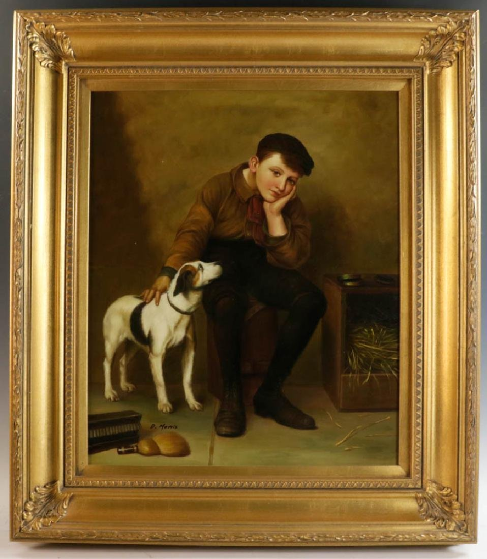 D. Morris Signed, Boy with Dog, Oil on Canvas