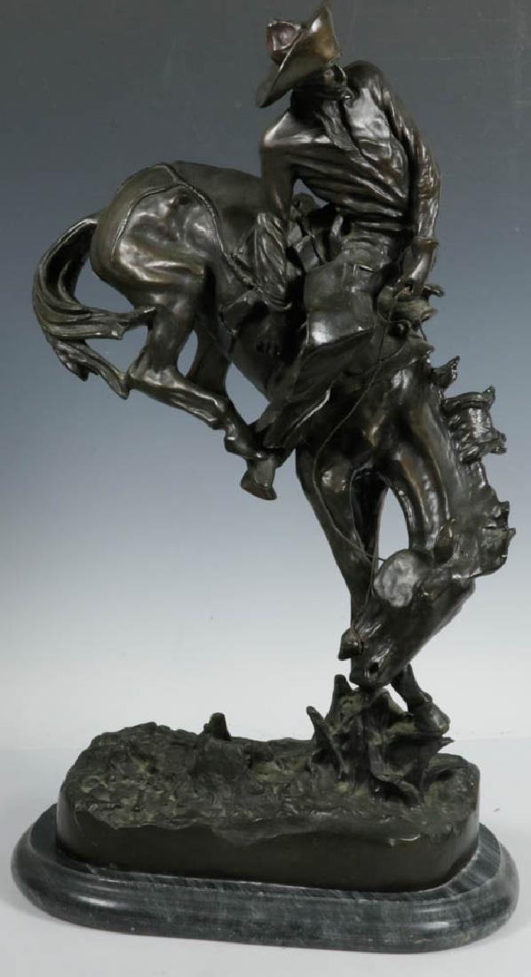 Mid 20thC Bronze, Cowboy on Horse