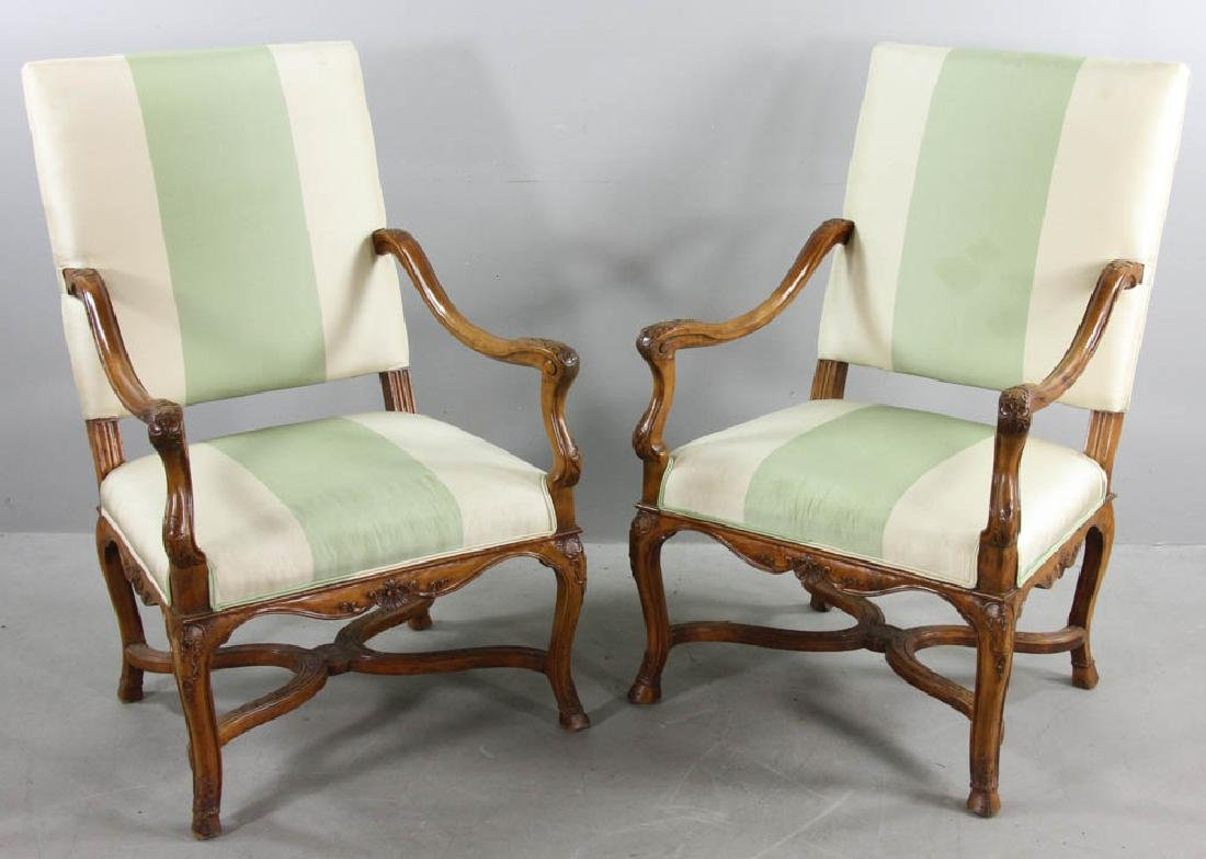 Pair of 19thC French Carved Armchairs