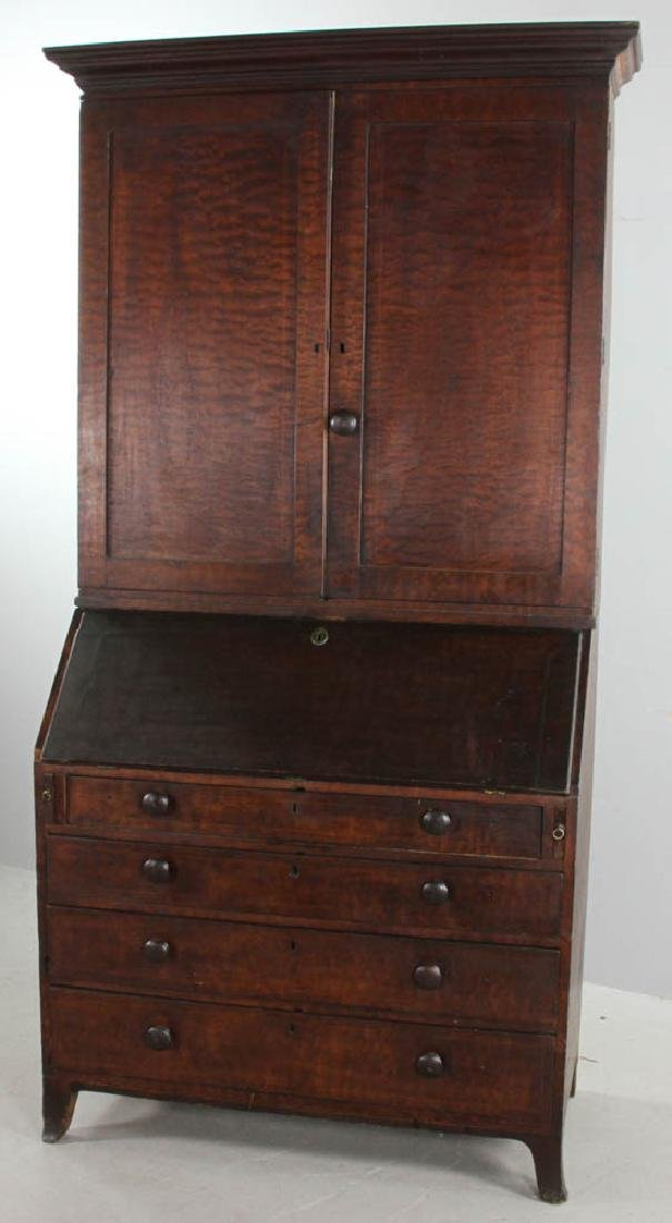 19thC Federal Tiger Maple Secretary