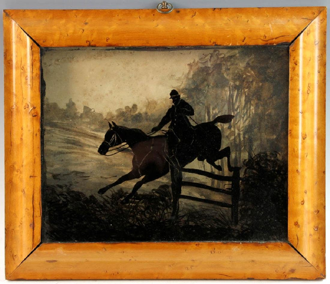 Equestrian Reverse Painting on Glass